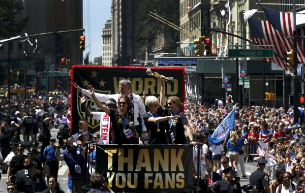 The USA's trophy parade to mark their World Cup win this year (Photo by Action Images)