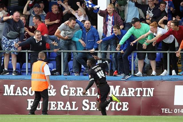 Jabo is hailed by the travelling Carlisle fans after netting the winner against Hartlepool (Photo by Media Image)