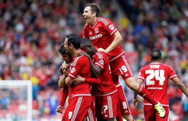 Promotion push: Downing aiming high with fellow Boro team-mates (Action Images / Craig Brough)