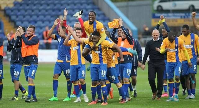 The Stags players celebrate the win over Newport (Photo by Richard Parkes)
