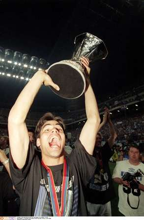 Glory moment: David Wagner holds aloft the UEFA Cup in '97 (Photo by Action Images)