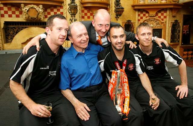 The Master: Jimmy Armfield with Blackpool's Charlie Adam, manager Ian Holloway, Gary Taylor-Fletcher and Brett Ormerod in 2010 (Photo by Action Images / Paul Thomas)