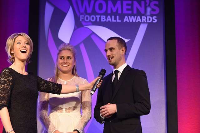 Having a laugh: Host Jacqui Oatley, England captain Steph Houghton and manager Mark Sampson (Photo courtesy of The FA)