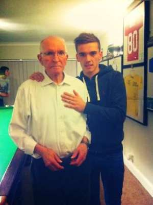 With Grandad (inset) - credit Twitter @Harry_Toffolo