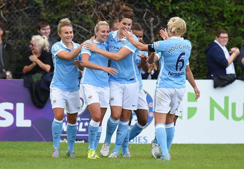 Slickers: City celebrate a Toni Huggan goal (photo by The FA)