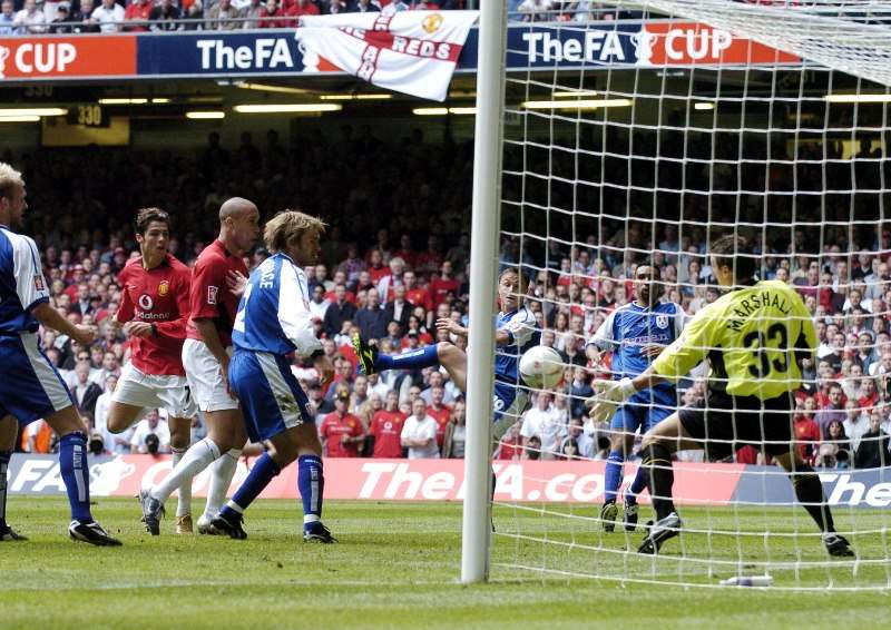 Football - Manchester United v Millwall - FA Cup Final 03/04 - Millennium Stadium, Cardiff - 22/5/04 Cristiano Ronaldo scores the first goal for Manchester United Mandatory Credit: Action Images / Darren Walsh Livepic