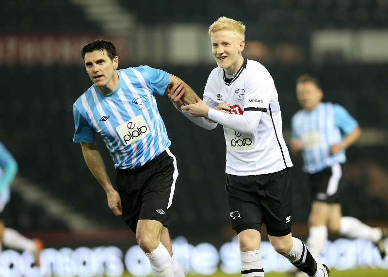 Back in action: Will Hughes marks Marc Edworthy closely (Photo by Andy clarke)