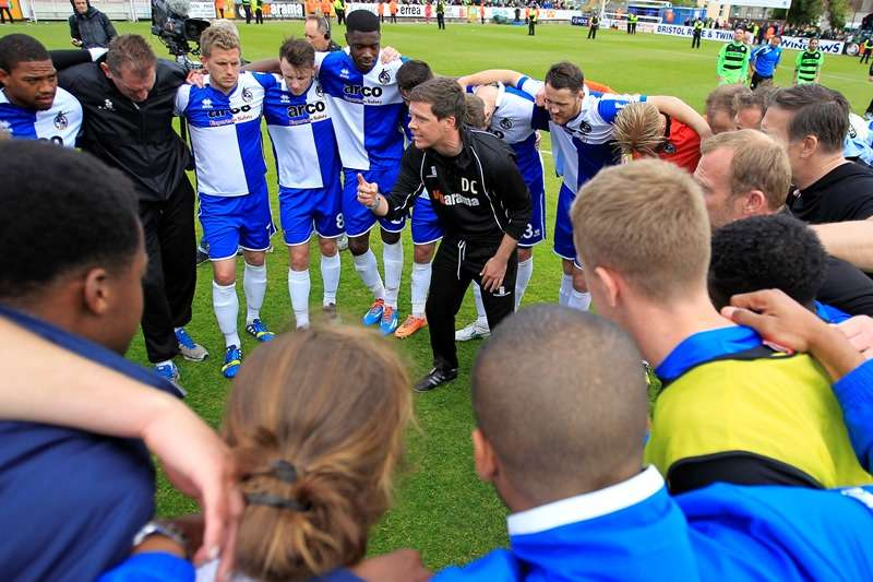 Football - Bristol Rovers v Forest Green Rovers - Vanarama Conference Play-Off Semi Final Second Leg - Memorial Ground - 3/5/15 Bristol Rovers Manager Darrell Clarke celebrates with the players at the end of the match Mandatory Credit: Action Images / Ian Smith Livepic