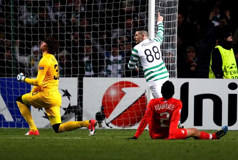 Goal: Hooper scores against Spartak Moscow in the Champions League (photo by Reuters)