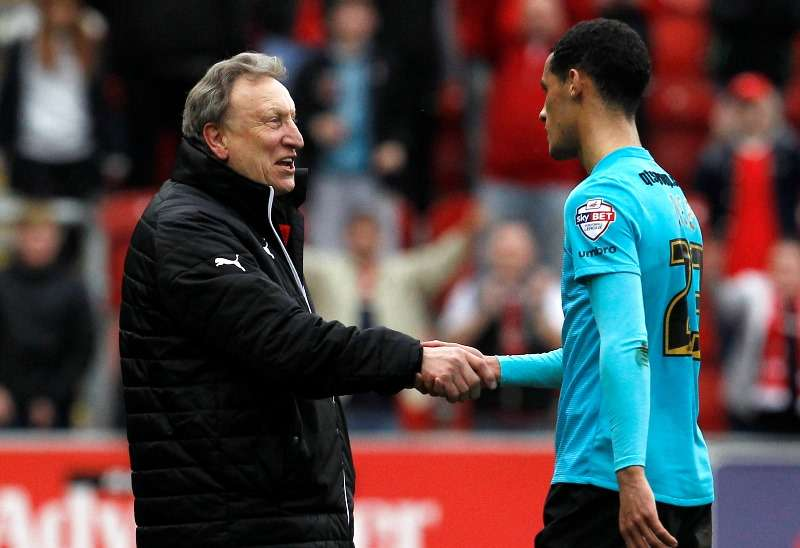 """Football Soccer - Rotherham United v Derby County - Sky Bet Football League Championship - AESSEAL New York Stadium - 12/3/16 Rotherham United manager Neil Warnock (L) shakes the hand of Derby County's Thomas Ince after the final whistle Mandatory Credit: Action Images / Craig Brough Livepic EDITORIAL USE ONLY. No use with unauthorized audio, video, data, fixture lists, club/league logos or """"live"""" services. Online in-match use limited to 45 images, no video emulation. No use in betting, games or single club/league/player publications.  Please contact your account representative for further details."""