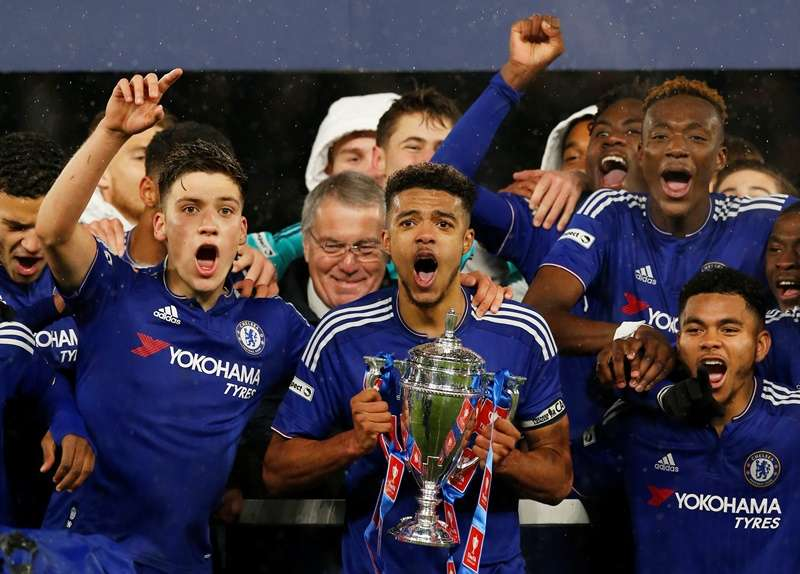 Inexperienced: Chelsea youngster celebrate winning the FA Youth Cup Final in April (photo by Action Images)
