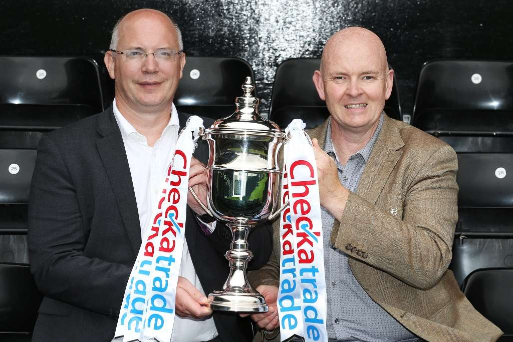 Calm before the storm: Shaun Harvey, left, with the trophy (Photo courtesy of the EFL)