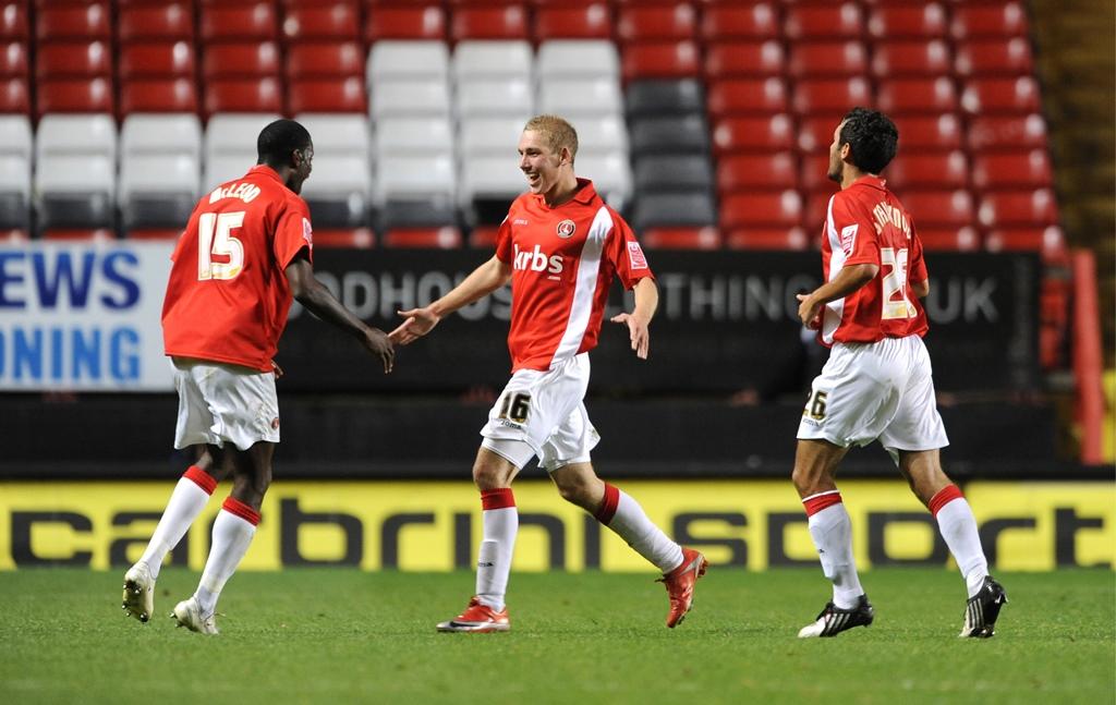 What a feeling: Scott Wagstaff celebrates scoring for Charlton