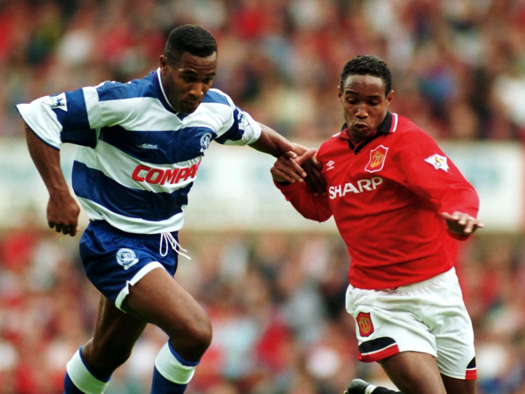 Heyday: Les Ferdinand in Action for QPR against Paul Ince's Manchester United (Picture: Action Images)