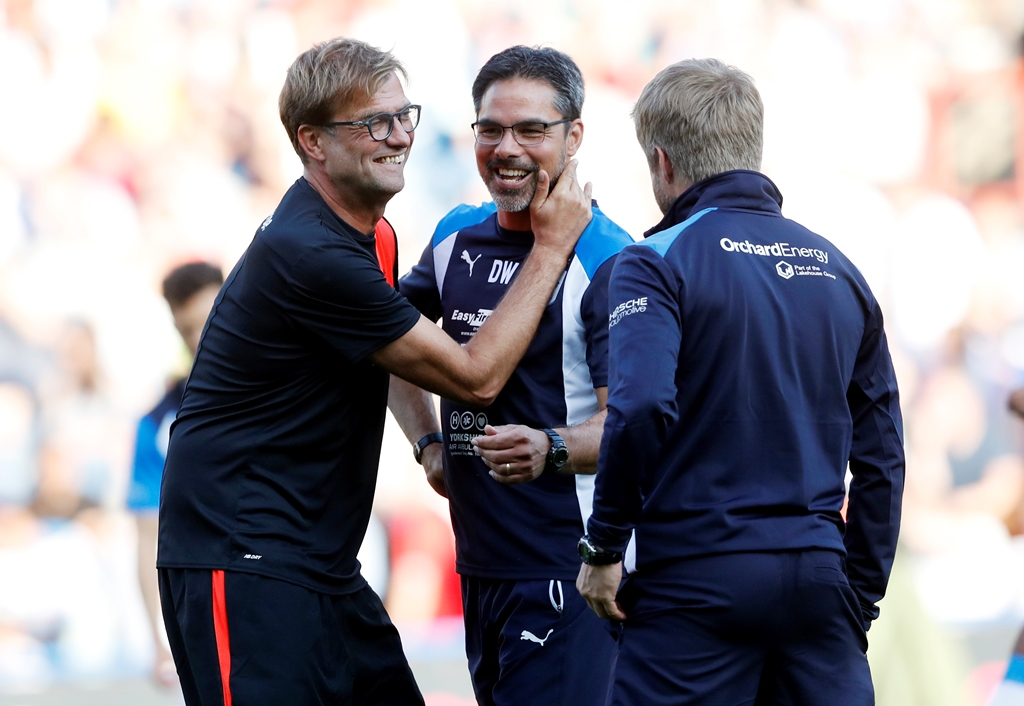Reunited: Jurgen Klopp and David Wagner at their pre-season friendly (Photo: Action Images via Reuters / Carl Recine)