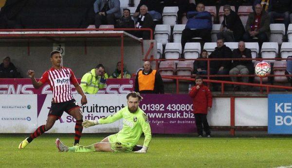 Team-mates: Exeter City forward Ollie Watkins