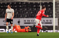 Nottingham Forest midfielder James Garner scores against Derby County