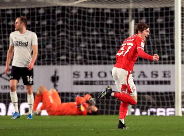 Nottingham Forest midfielder James Garner scores against Derby County
